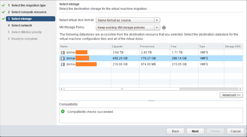 domalab.com VMware vMotion select storage