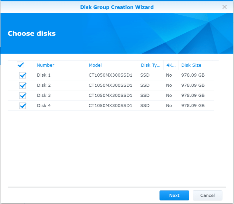 Synology NAS Create Disk Group