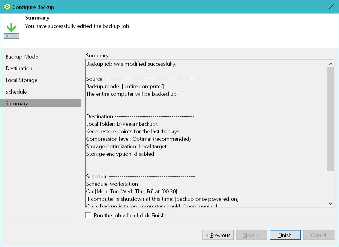 domalab.com Windows Backup Agent backup job summary
