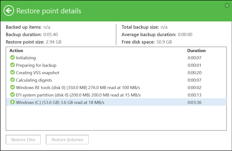 domalab.com Windows Backup Agent restore point details
