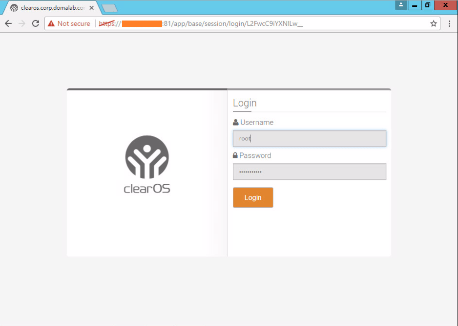 domalab.com Install ClearOS login