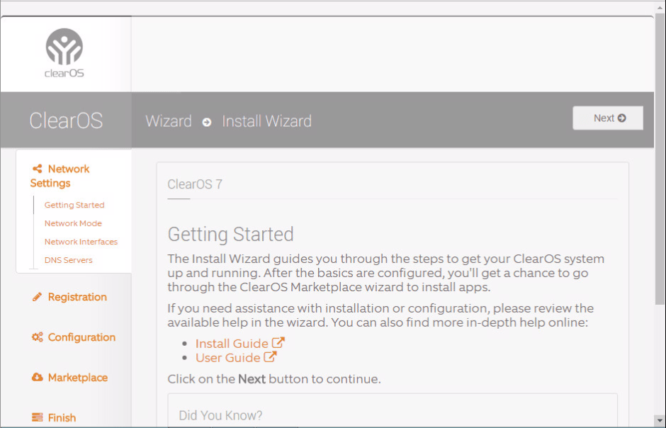 domalab.com Configure ClearOS install wizard