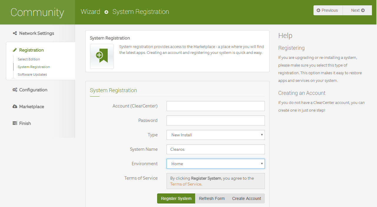 domalab.com Configure ClearOS system registration
