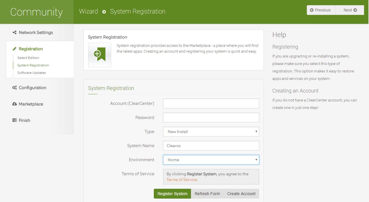 domalab.com Configure ClearOS system registration