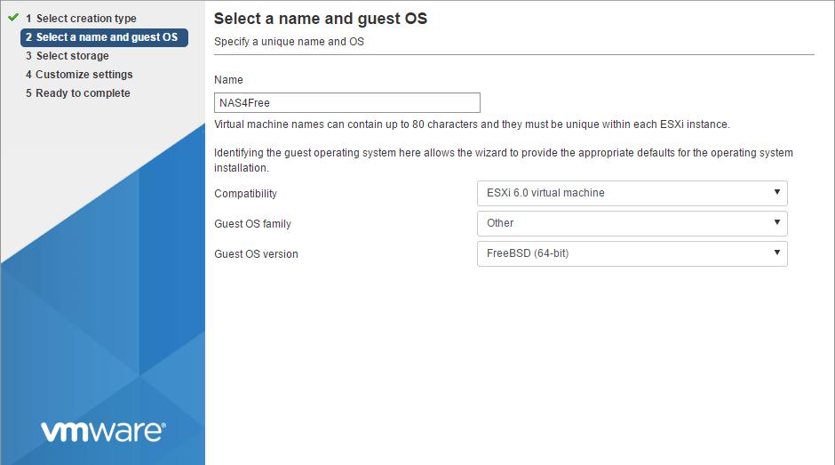 domalab.com Deploy NAS4Free VMware ESXi select OS