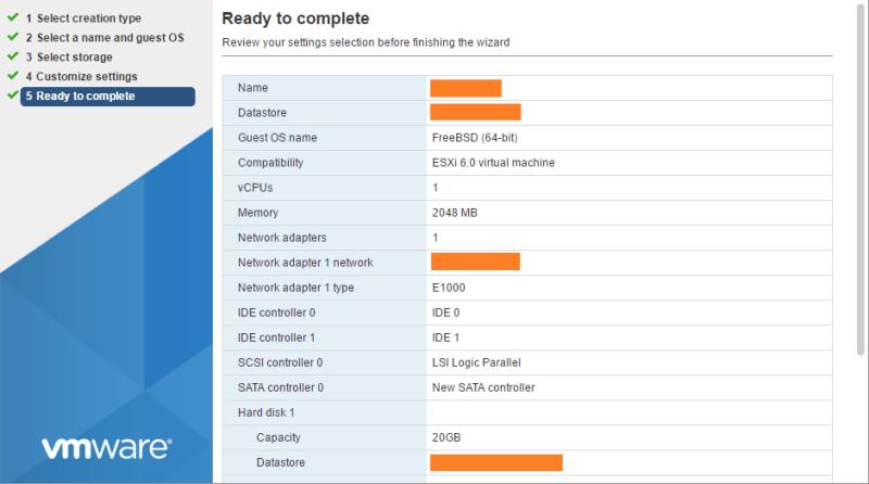 domalab.com Deploy NAS4Free VMware ESXi wizard summary