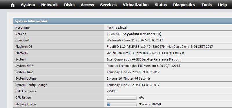 domalab.com Configure NAS4Free WebGui home