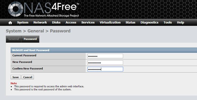domalab.com Configure NAS4Free password