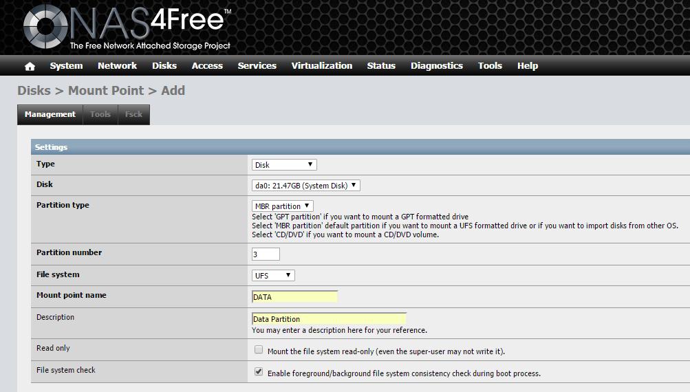 domalab.com Configure NAS4Free mount data partition