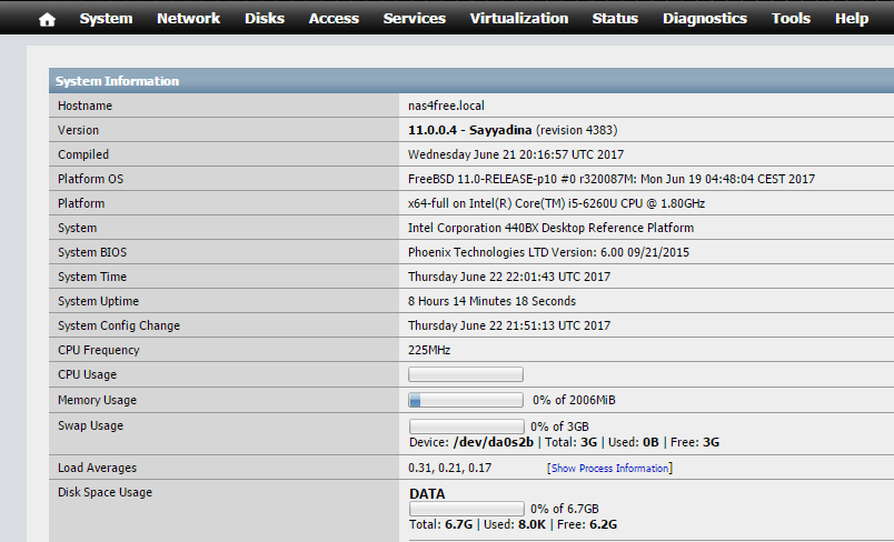 domalab.com Configure NAS4Free home webgui