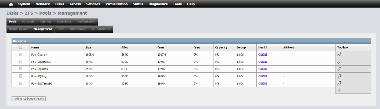 domalab.com NAS4Free storage Pool list