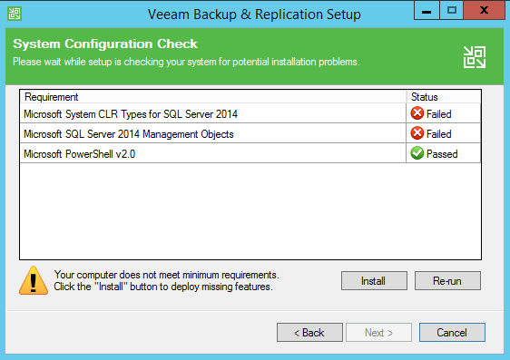Backup and Replication install system requirements
