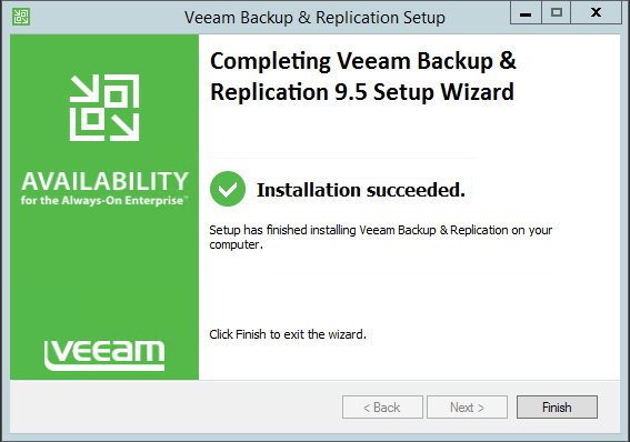 Backup and Replication wizard complete