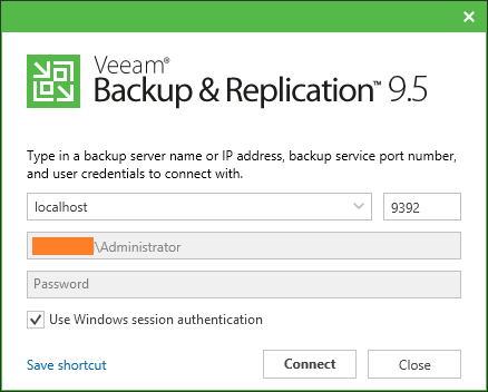 Backup and Replication console
