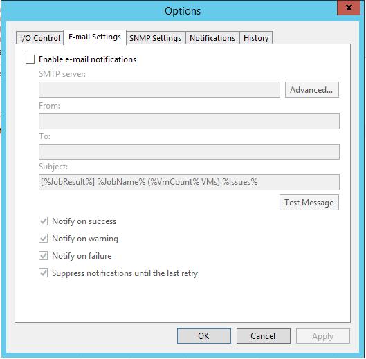 Veeam Backup E-mail settings