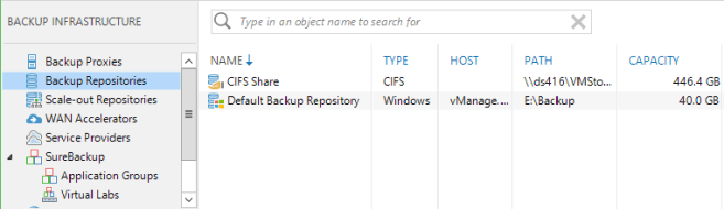 CIFS Share Veeam Repository