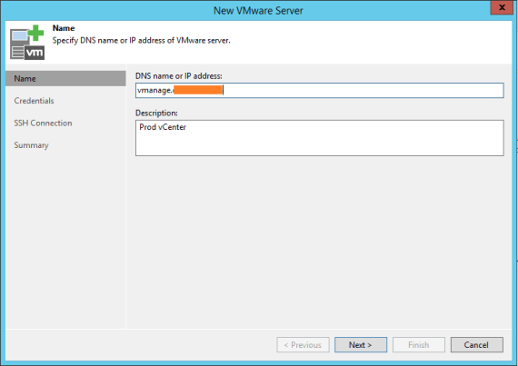 Specify VMware infrastructure vCenter with Veeam