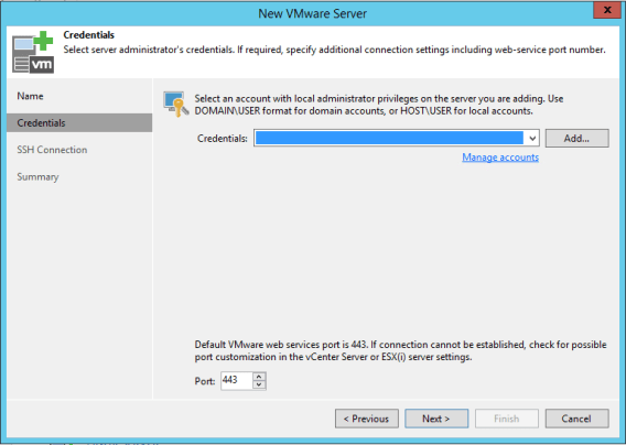 Specify VMware infrastructure credentials with Veeam