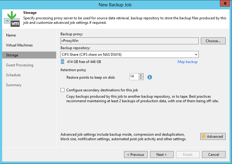 Veeam Backup Job storage