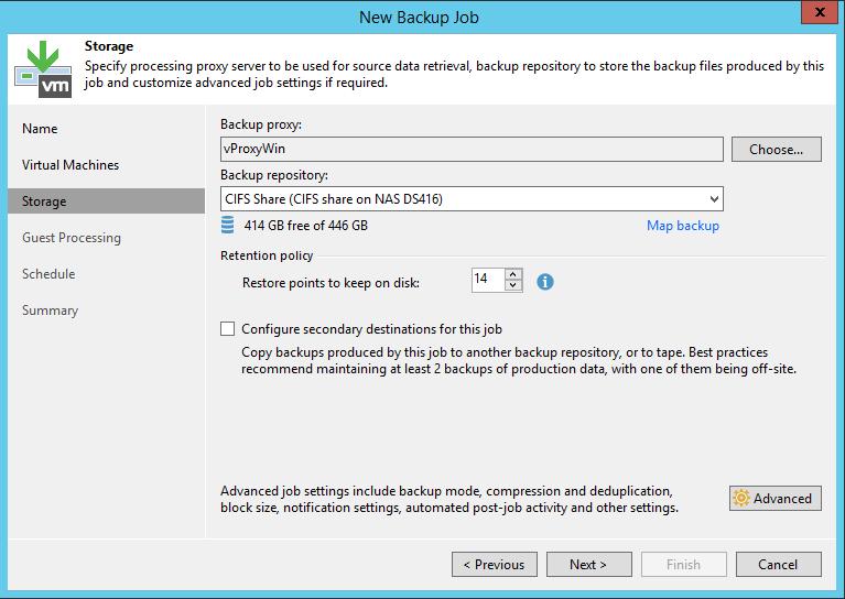 Veeam Backup Job storage