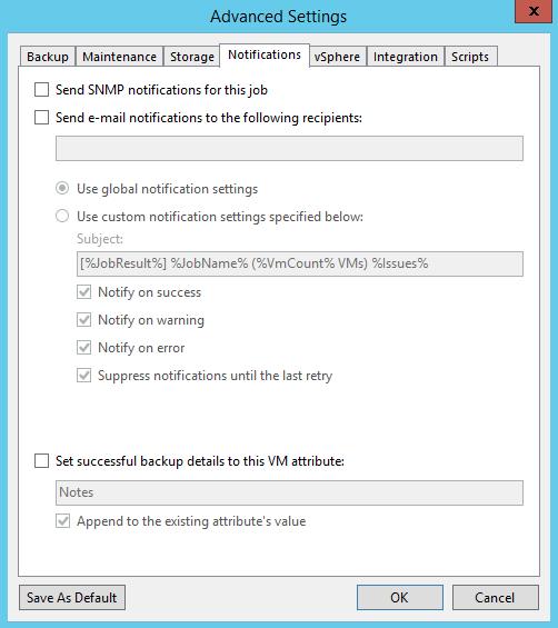 Veeam Backup Job notification