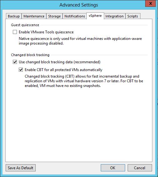 Veeam Backup Job vSphere settings