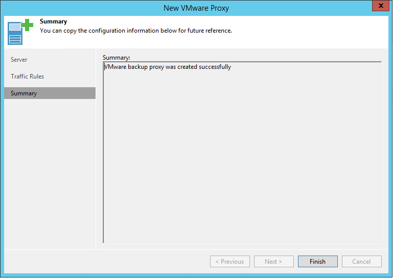 Veeam Backup Proxy Install Summary