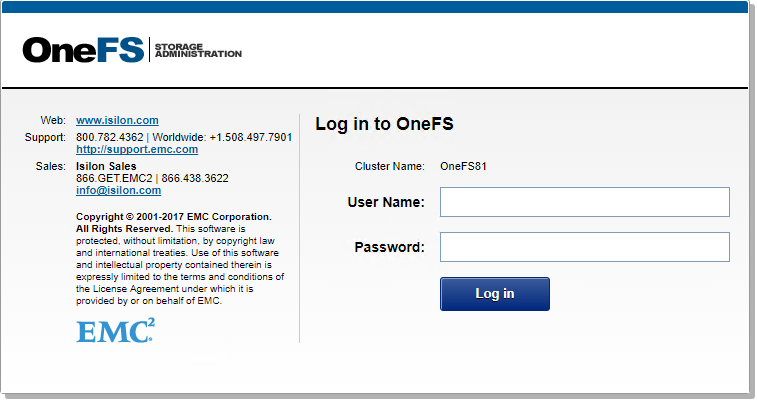 Isilon OneFS node cluster credential