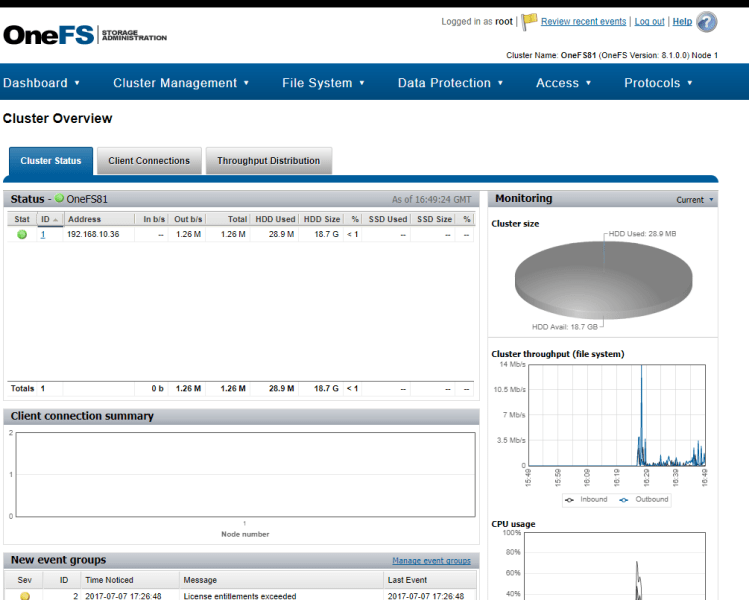 Isilon OneFS node Web Dashboard