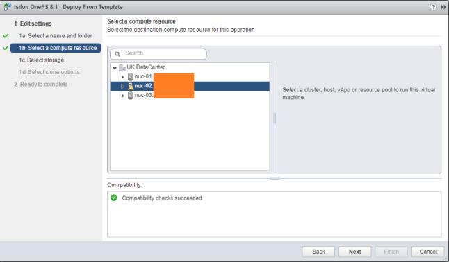 vCenter Select Host