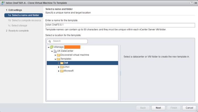 Deploy EMC Isilon OneFS template folder