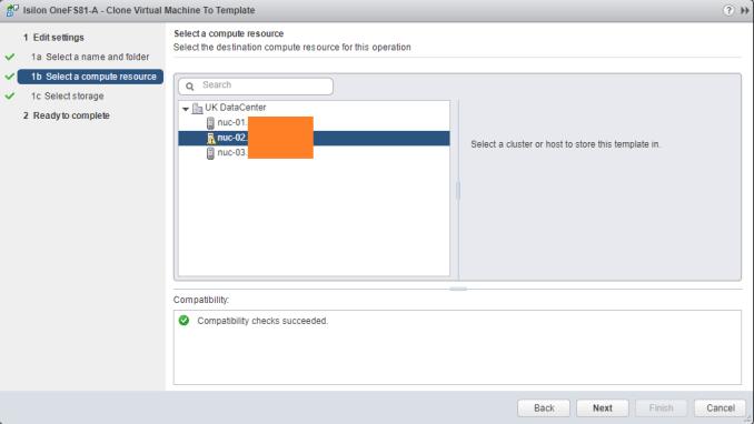 Deploy EMC Isilon OneFS template Host
