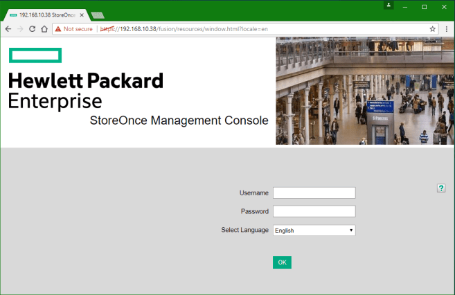 HPE StoreOnce VSA GUI Console