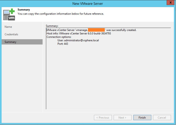 Connection summary VMware infrastructure with Veeam