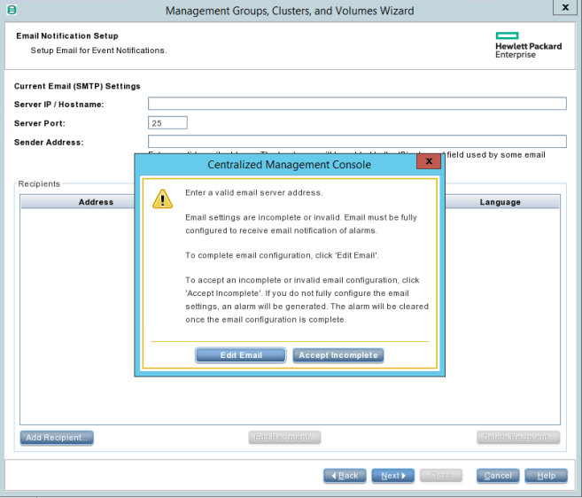 HPE StoreVirtual Management Email SMTP