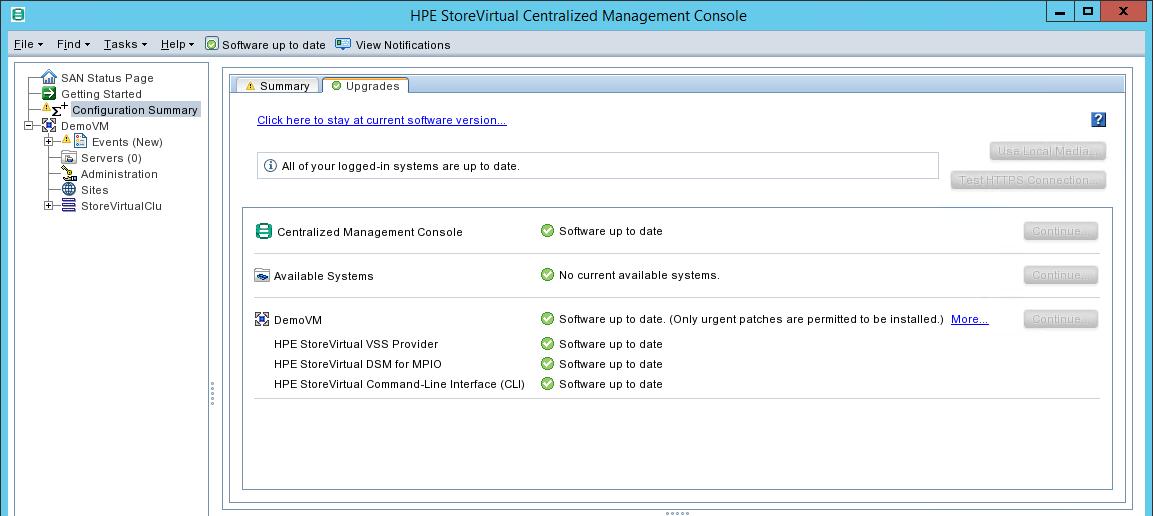update HPE StoreVirtual upgrade status