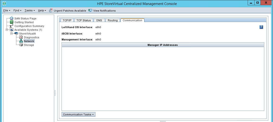 configure HPE StoreVirtual Communication