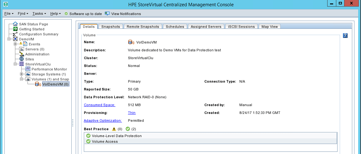 HPE StoreVirtual Management volume details