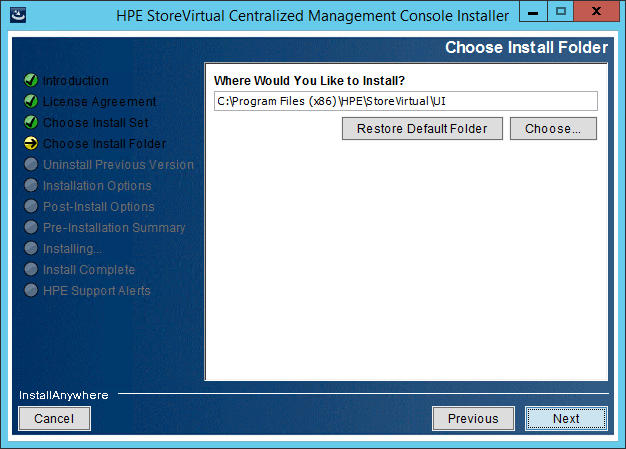 StoreVirtual Centralized Management Console install folder