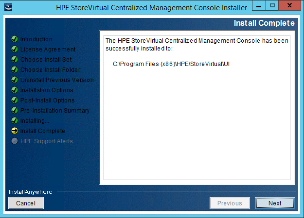 StoreVirtual Centralized Management Console install complete