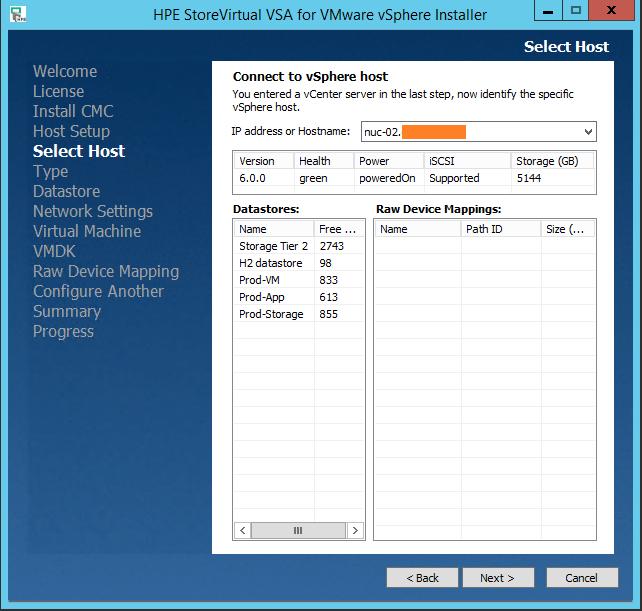 HPE StoreVirtual VSA select host