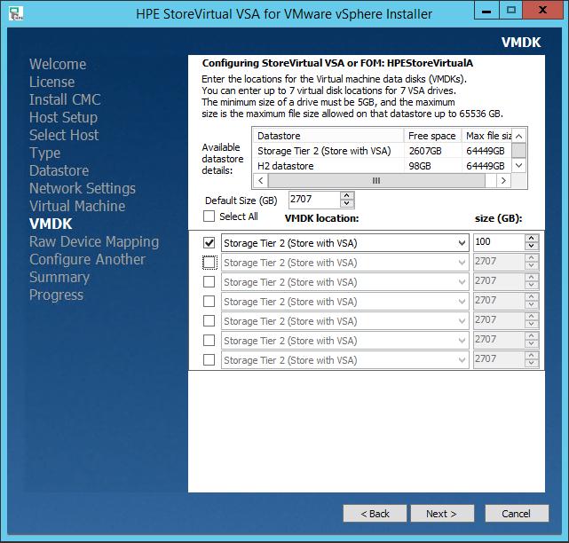 HPE StoreVirtual VSA VMDK