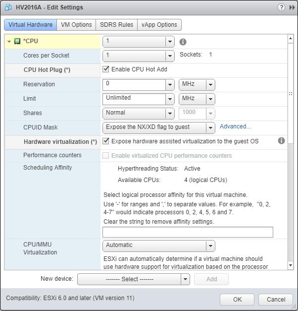 Hyper-V 2016 nested install into VMware CPU instructions