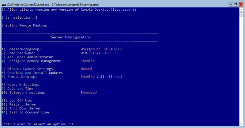 Hyper-V 2016 Configuration reboot