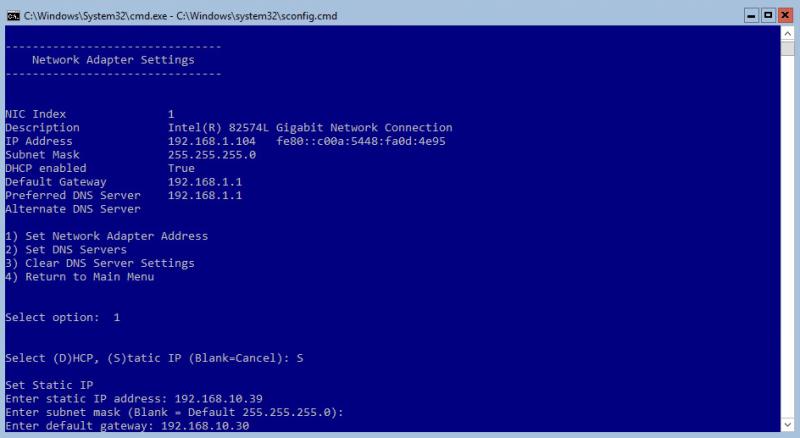 Hyper-V 2016 Configuration Network static IP
