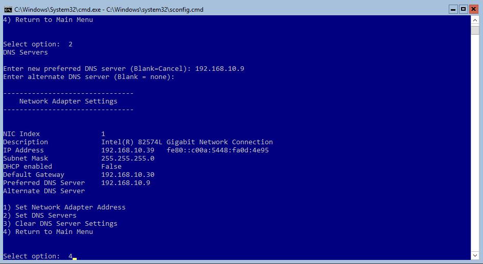 Hyper-V 2016 Configuration Network Menu