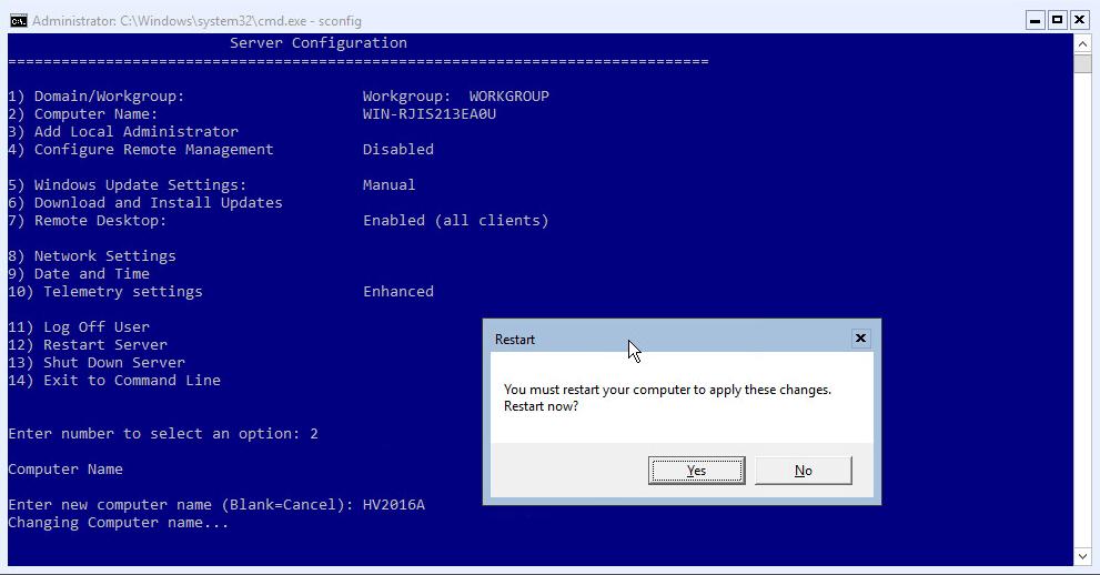 Hyper-V 2016 Configuration Change Name