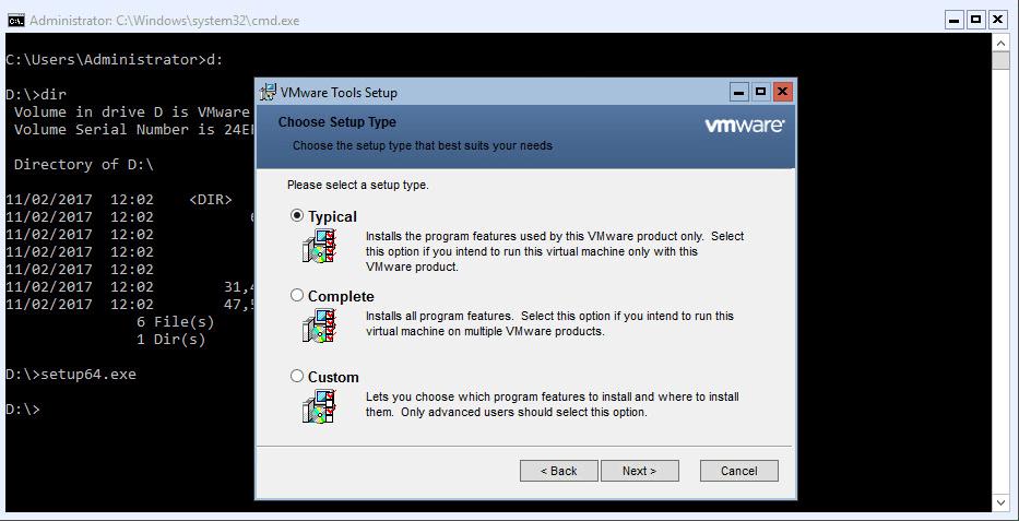 Hyper-V 2016 Configuration VMware tools wizard