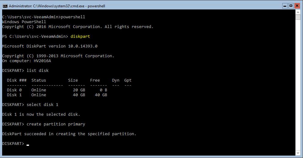 Hyper-V 2016 Storage diskpart create partition