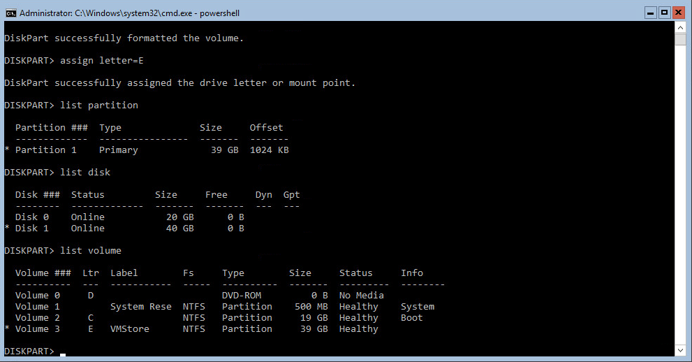Hyper-V 2016 Storage diskpart list volume